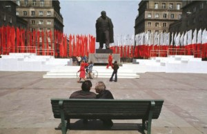 The statue of Lenin on the main square of Nowa Huta decorated for the 1st of May in 1978.